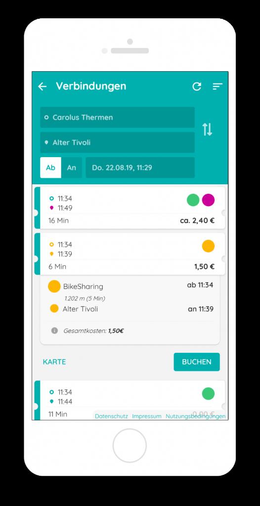 Mobility Broker App – multimodale Verbindungssuche